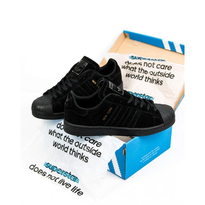Мужские кроссовки Adidas Superstar Suede Black
