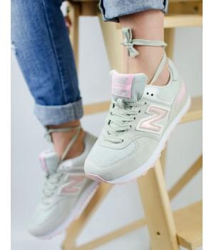 Кроссовки женские New Balance 574 Grey/Pink 2