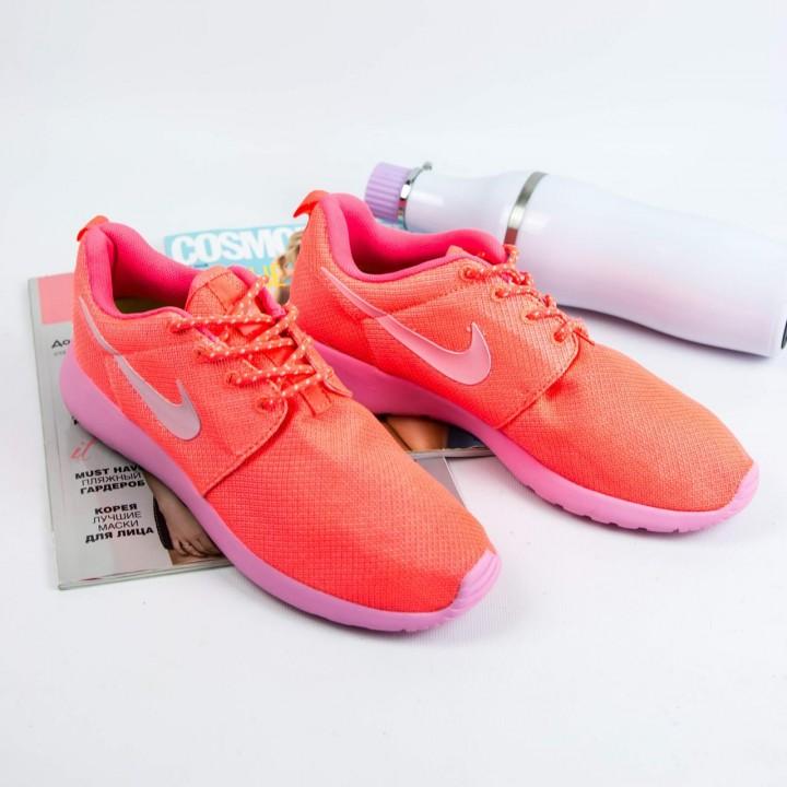 Кроссовки  Nike Roshe Run Neon Orang/Pink
