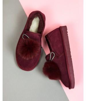 Женские ботинки UGG низкие бордовые