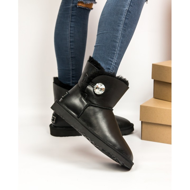 UGG BAILEY BUTTON BLING LEATHER MINI BLACK