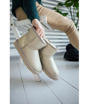 Ugg Classic Mini  Leather Silver