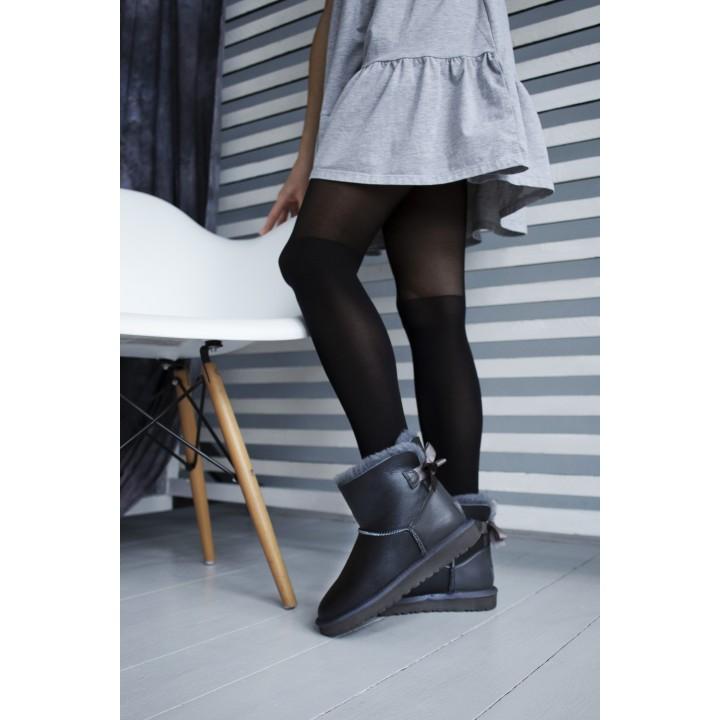 Ugg Bailey Bow Black Leather Gray Fur Mini