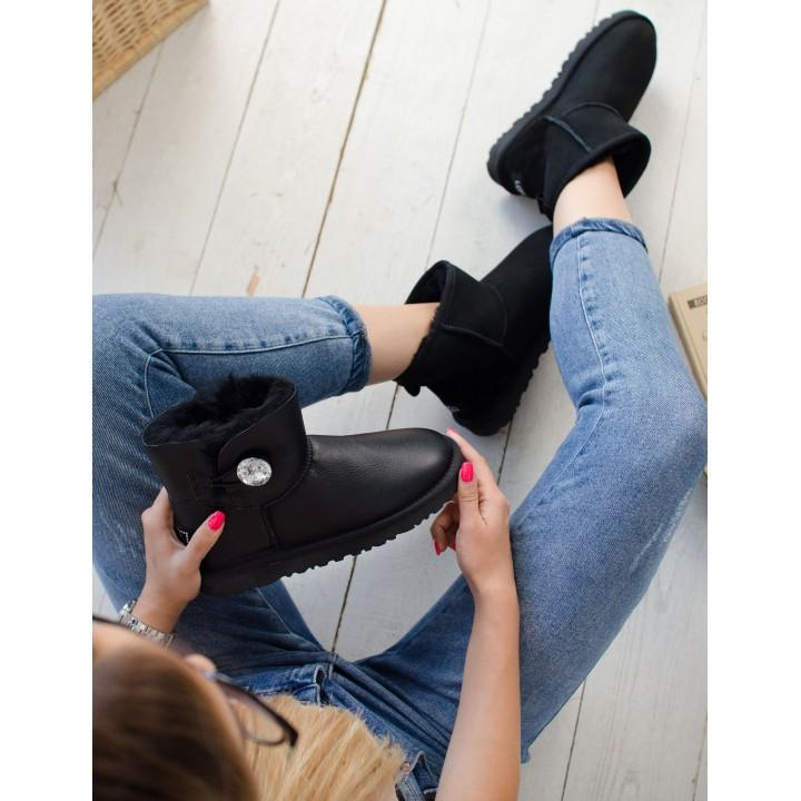 Ugg Australia Bailey Button Leather Mini Black