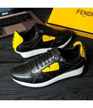 Мужские кроссовки Fendi Black/Yellow