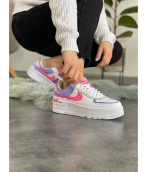 "Nike Air Force 1 ""Shadow"" Double Swoosh Sail Pink Purple"