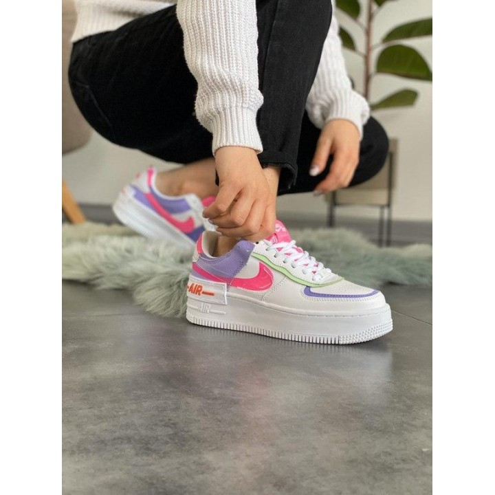 "Nike Air Force 1 ""Shadow"" Double Swoosh Sail Pink Purple"