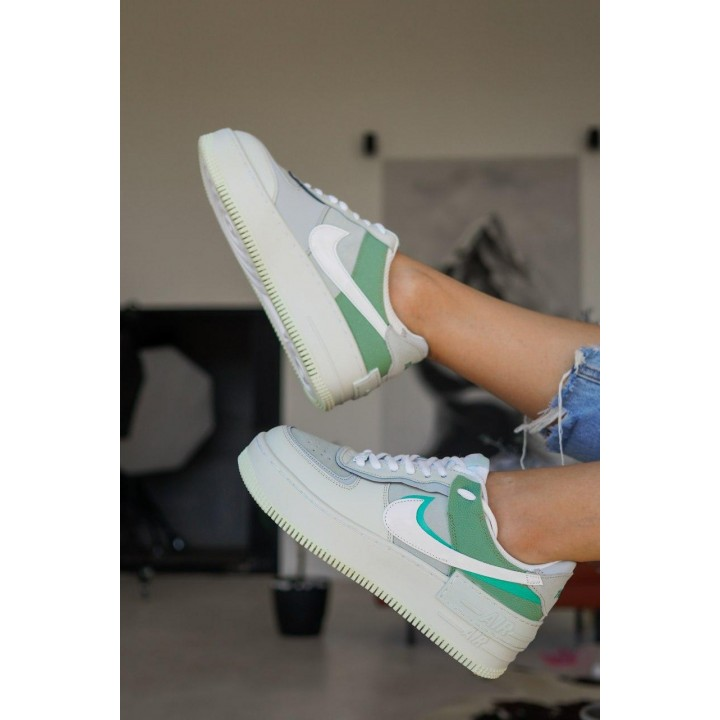 КРОССОВКИ NIKE AIR FORCE WHITE WHITE/GREEN